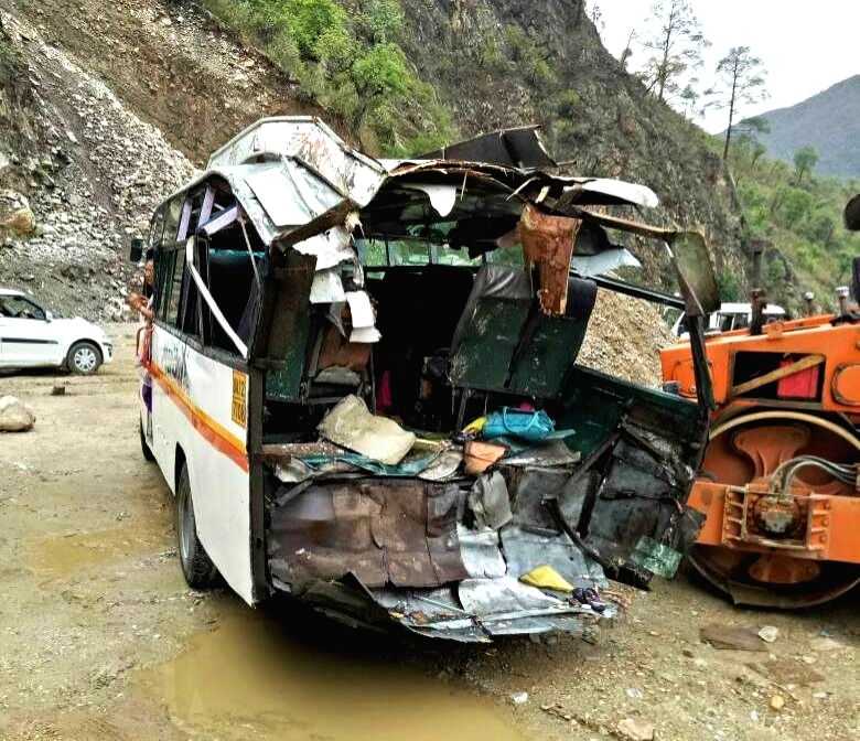 Lohali (Uttarakhand): The mangled remains of the bus on which a huge boulder fell killing five persons  on the Almorah-Haldwani highway near Lohali in Uttarakhand on May 22, 2017.