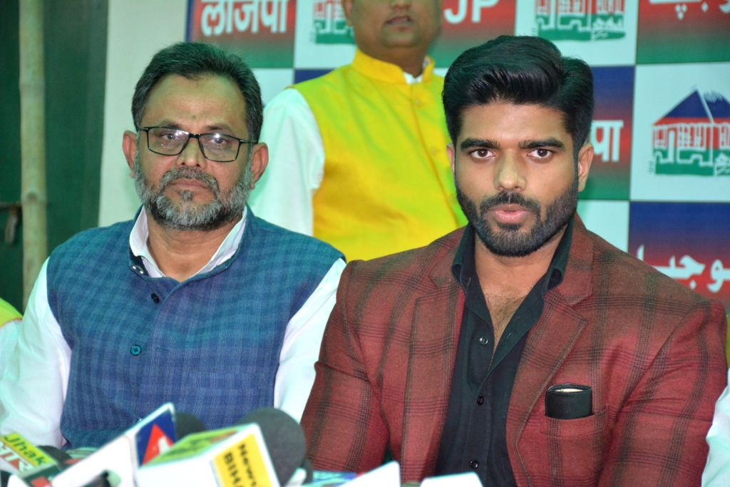 Lok Janshakti Party leader Prince Raj addresses a press conference in Patna on Jan 27, 2020.
