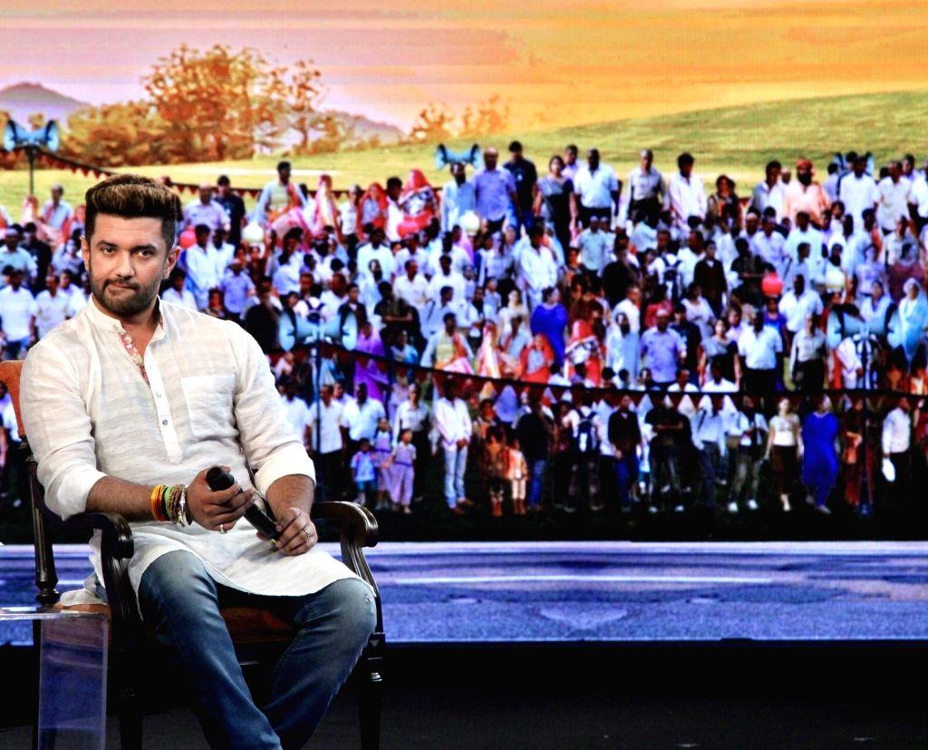 """Lok Janshakti Party (LJP) leader Chirag Paswan during """"NDTV Yuva 2018"""", in New Delhi on Sept 16, 2018."""
