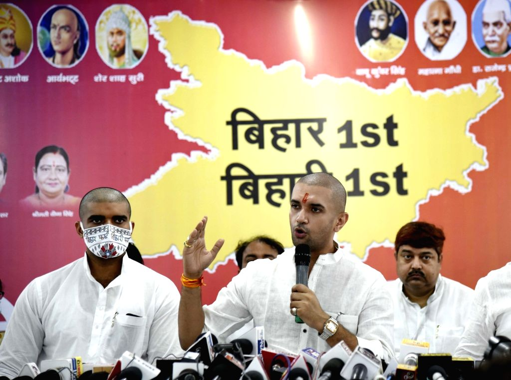 Lok Janshakti Party (LJP) President Chirag Paswan addresses a press conference ahead of Bihar Assembly elections, at the party office in Patna on Oct 21, 2020.