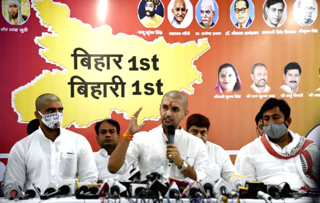 Lok Janshakti Party (LJP) President Chirag Paswan addresses a press conference ahead of Bihar Assembly elections, at party office in Patna on Oct 21, 2020.