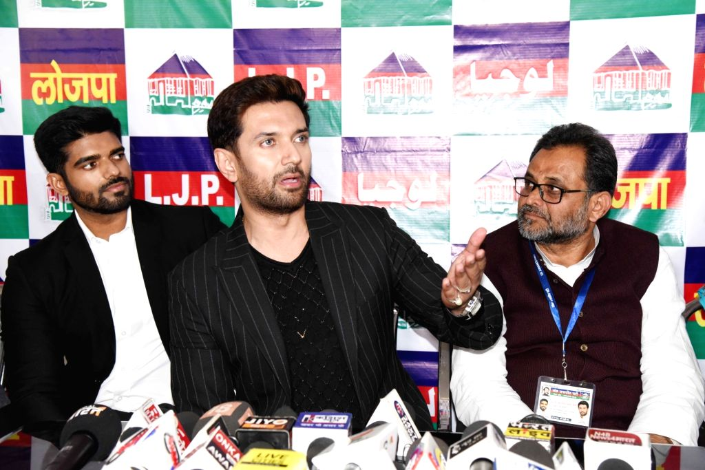 Lok Janshakti Party (LJP) President Chirag Paswan addresses a press conference in Patna on Feb 8, 2020.