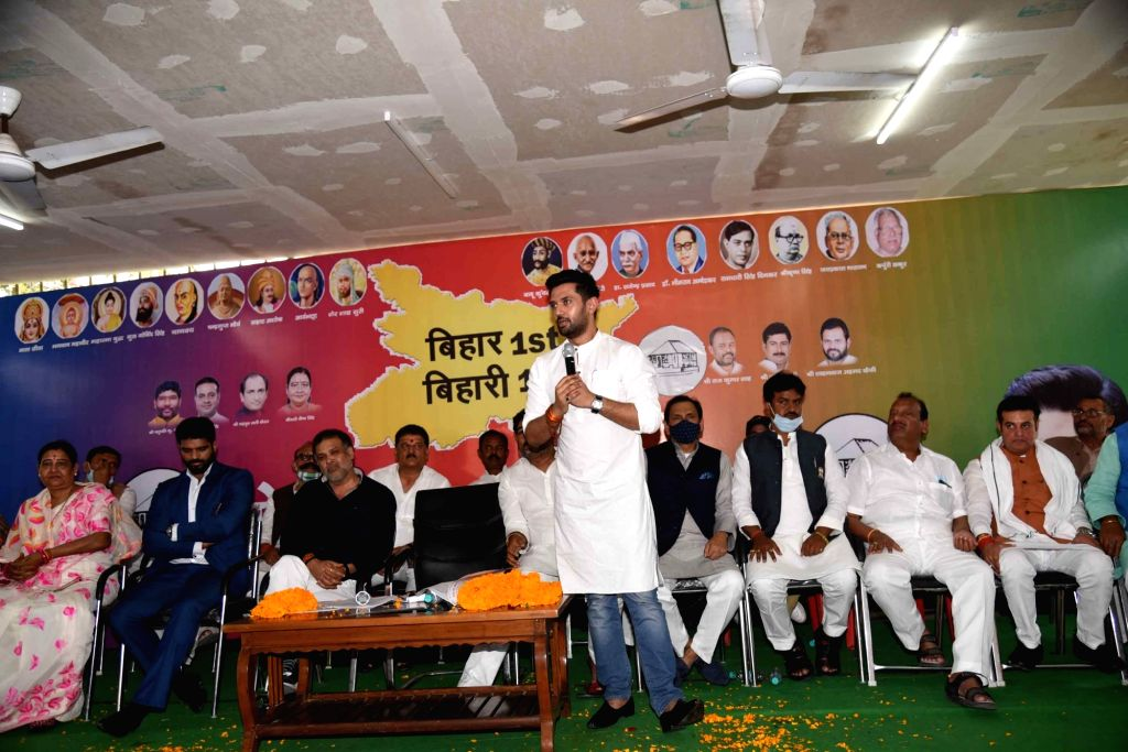 Lok JanShakti Party president Chirag Pasvan addresses party meeting ,in Patna on Sunday 28th February, 2021.