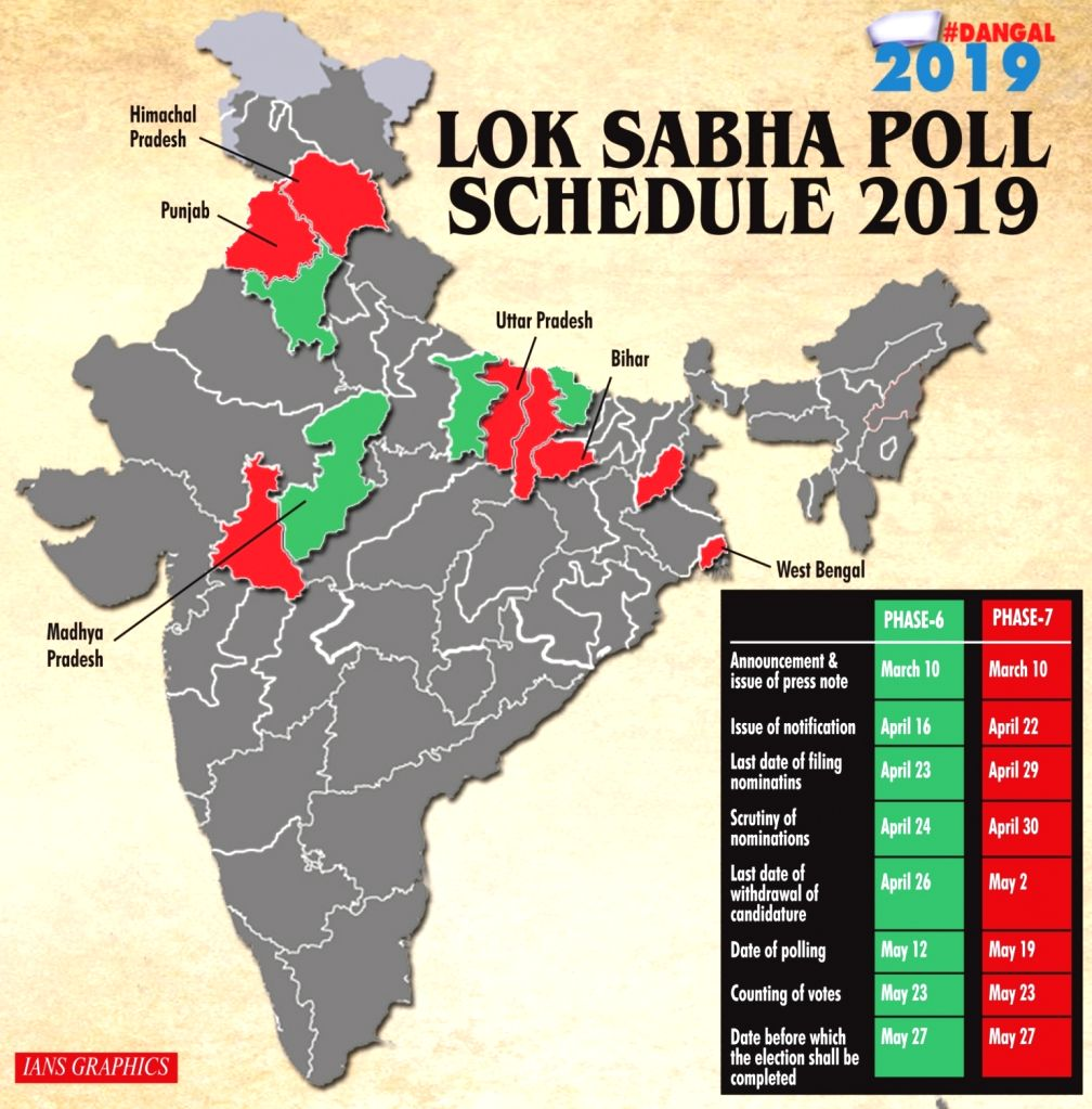 Lok Sabha poll schedule 2019 - Phase 6 and 7.