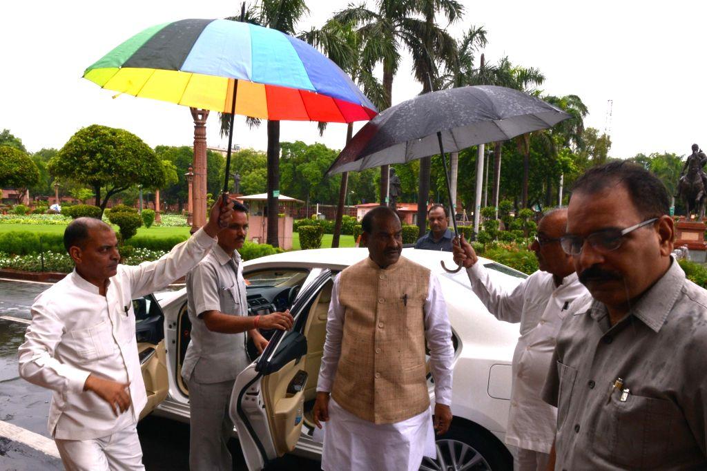 Lok Sabha Speaker Om Birla arrives at Parliament in New Delhi on July 17, 2019. - O