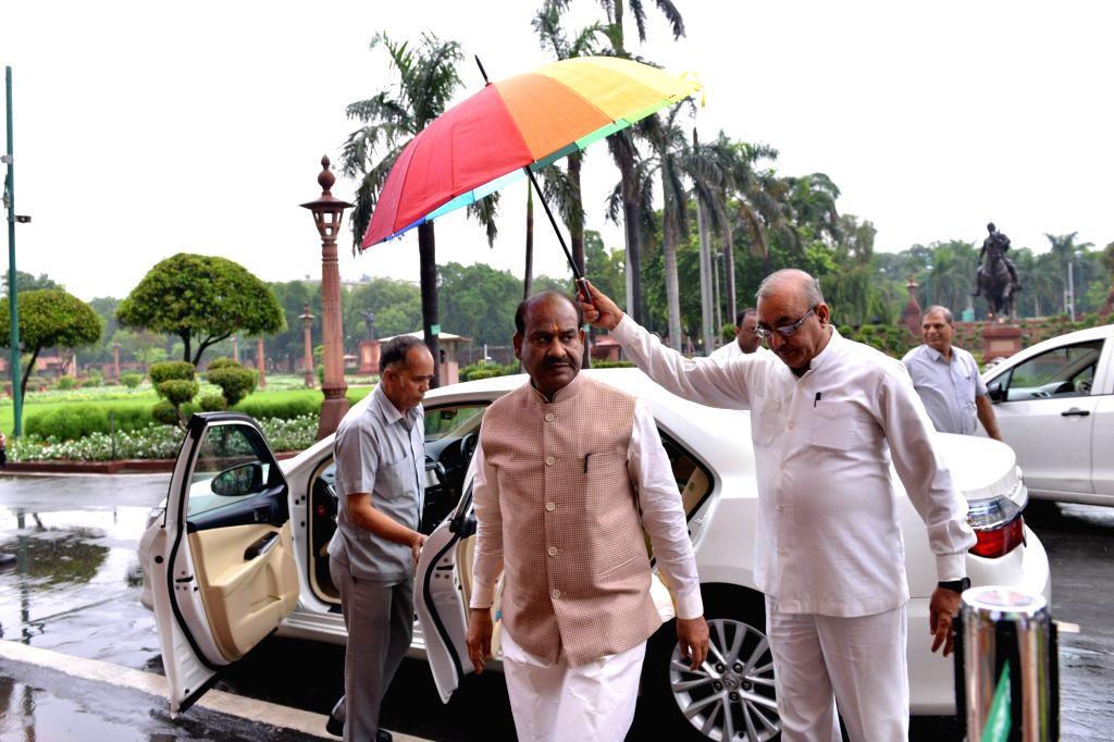 Lok Sabha Speaker Om Birla arrives at Parliament in New Delhi on July 18, 2019. - O