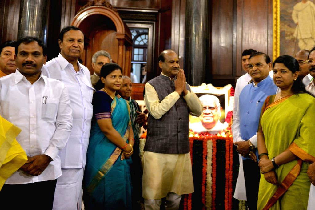 Lok Sabha Speaker Om Birla, DMK MPs A. Raja and Kanimozhi and other Members of Parliament pay tributes to Former Lok Sabha Speaker Somnath Chatterjee on his birth anniversary, at ... - Somnath Chatterjee