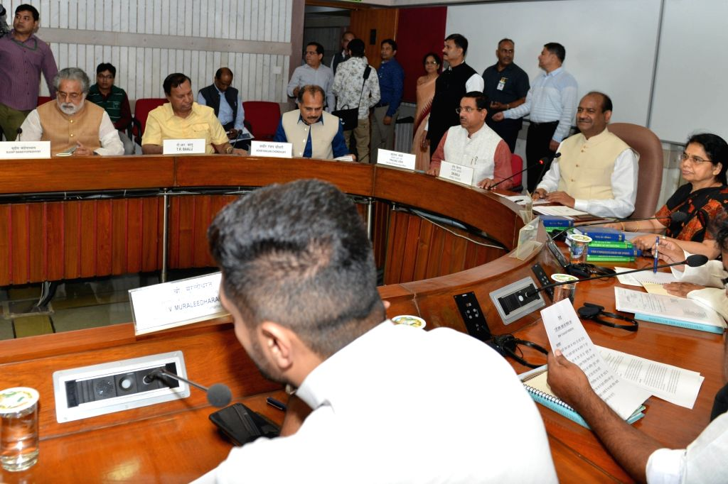 Lok Sabha Speaker Om Birla presides over an all-party meeting ahead of the Winter Session of Parliament, in New Delhi on Nov 16, 2019. - O