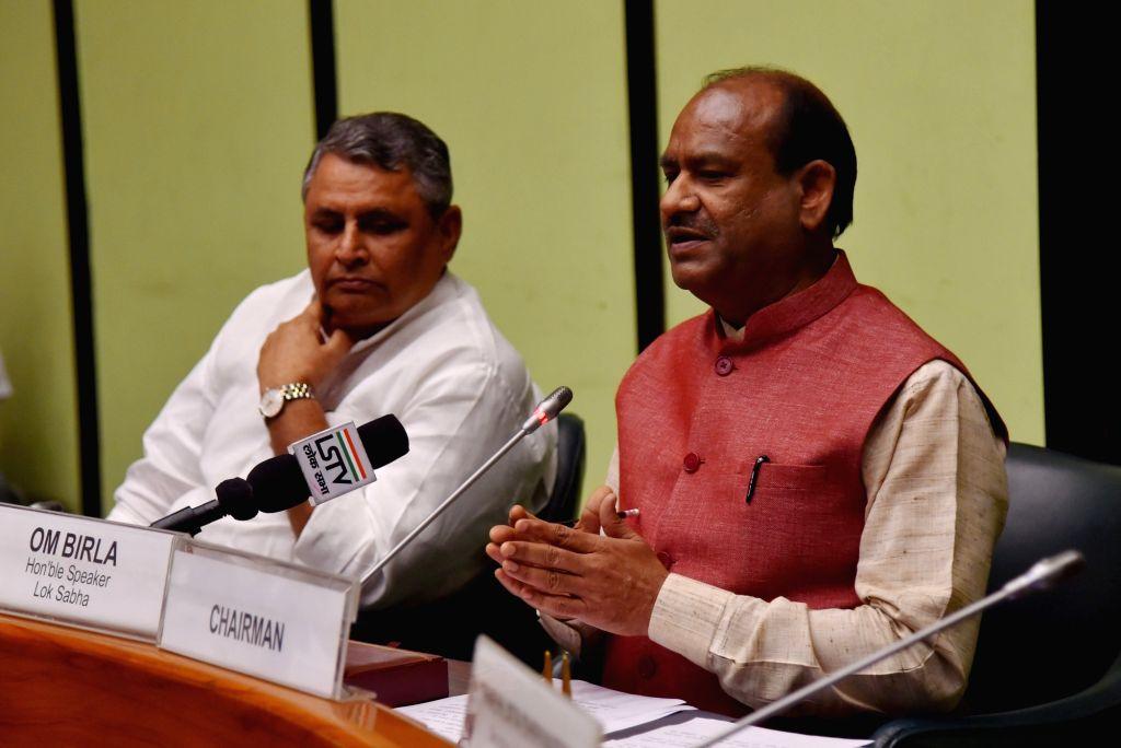 Lok Sabha Speaker Om Birla talks to the media at Parliament in New Delhi on Aug 28, 2019. - O
