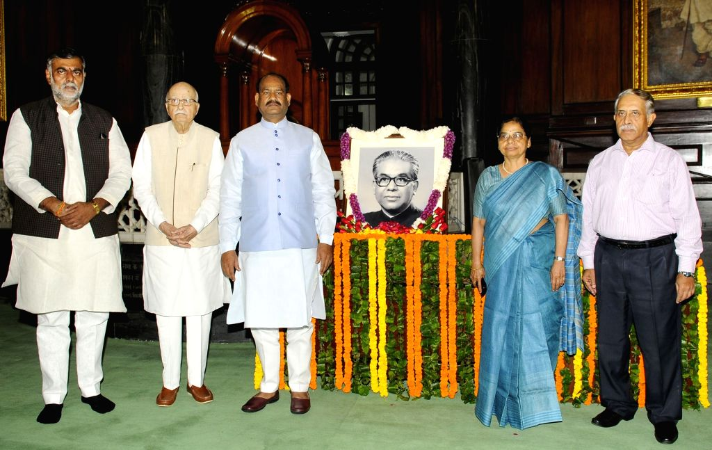 Lok Sabha Speaker Om Birla, Union MoS Culture and Tourism (Independent Charge) Prahlad Singh Patel, senior BJP leader L.K. Advani and other dignitaries pay tributes to Former Lok Sabha ... - O, Prahlad Singh Patel and K. Advani