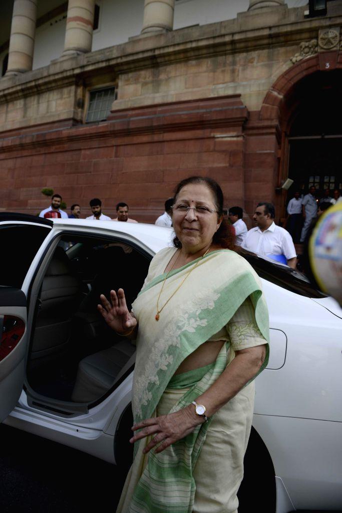 Lok Sabha Speaker Sumitra Mahajan at the Parliament in New Delhi, on Aug 3, 2015. - Sumitra Mahajan