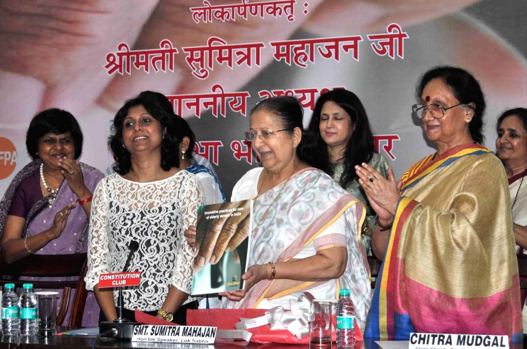 "Lok Sabha Speaker Sumitra Mahajan inaugurates ""Innovative Practices for Care of Elderly Women in India"" -  a Stree Shakti study at Constitution Club of India in New Delhi, on Aug ... - Sumitra Mahajan"