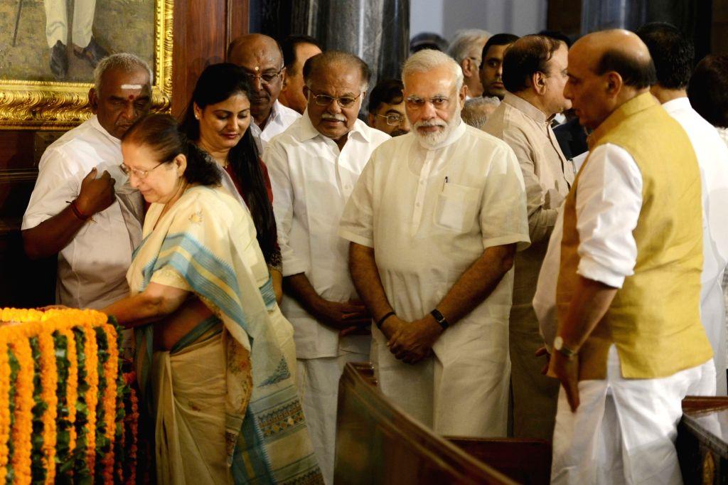 Lok Sabha Speaker Sumitra Mahajan pays tribute to Dr Syama Prasad Mookerjee, on his birth anniversary, at Parliament House, in New Delhi on July 6, 2016. Also Prime Minister Narendra Modi, ... - Sumitra Mahajan, Narendra Modi, Rajnath Singh and Anupriya Patel