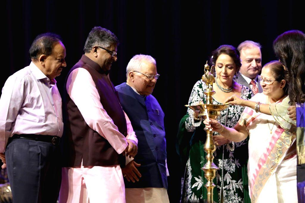 "Lok Sabha Speaker Sumitra Mahajan, Union Ministers Ravi Shankar Prasad, Kalraj Mishra, Harsh Vardhan and actress and politician Hema Malini during ""SYNERGY 2017""  - an ... - Sumitra Mahajan, Ravi Shankar Prasad, Kalraj Mishra, Harsh Vardhan and Hema Malini"