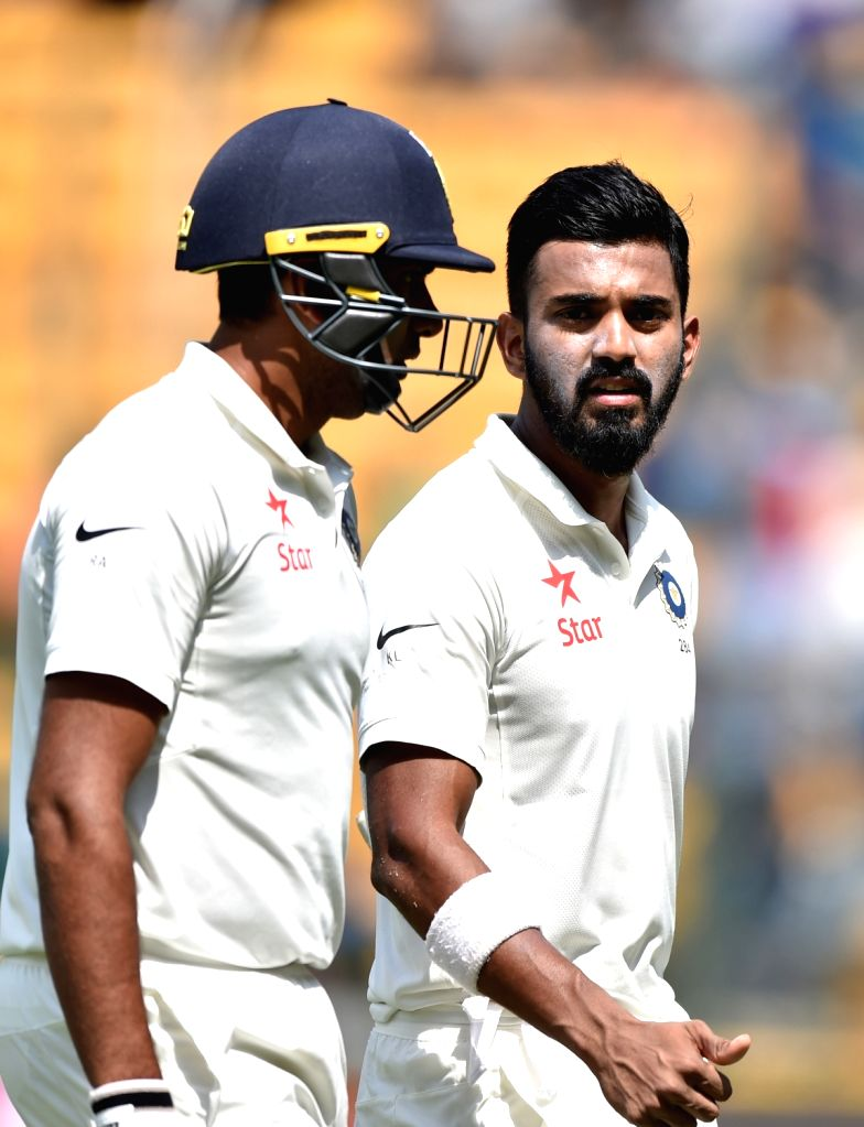 Lokesh Rahul and Ravichandran Ashwin of India during day one of the second test match between India and Australia at M Chinnaswamy Stadium in Bengaluru on March 4, 2017. - Lokesh Rahul