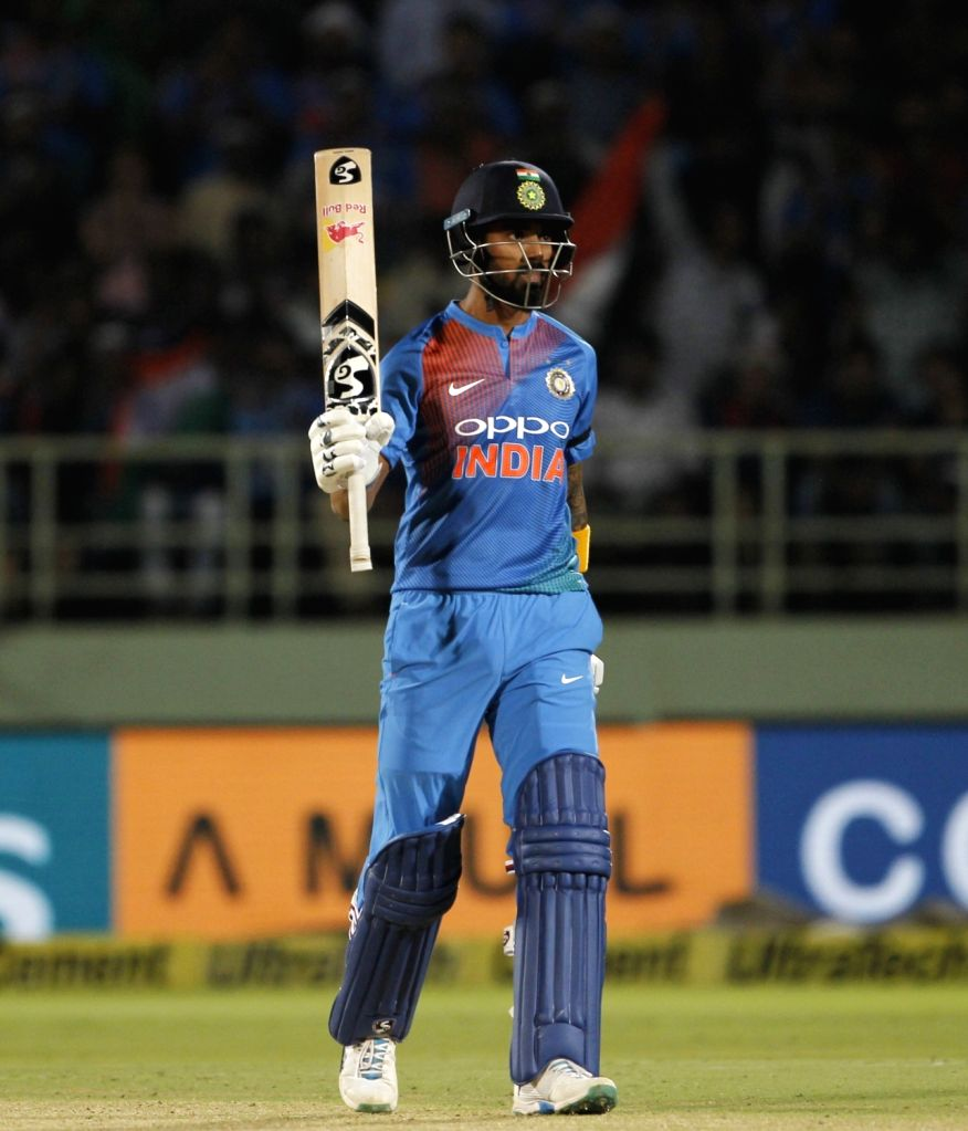 Lokesh Rahul of India celebrates after his half century during the 1st T20I match between India and Australia at Dr. Y.S. Rajasekhara Reddy ACA-VDCA Cricket Stadium in Visakhapatnam, ... - Lokesh Rahul