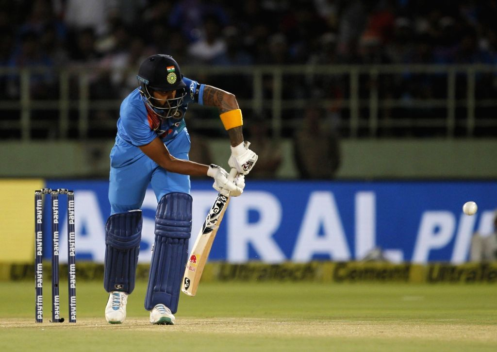 Lokesh Rahul of India in action during the 1st T20I match between India and Australia at Dr. Y.S. Rajasekhara Reddy ACA-VDCA Cricket Stadium in Visakhapatnam, Andhra Pradesh on Feb 24, ... - Lokesh Rahul