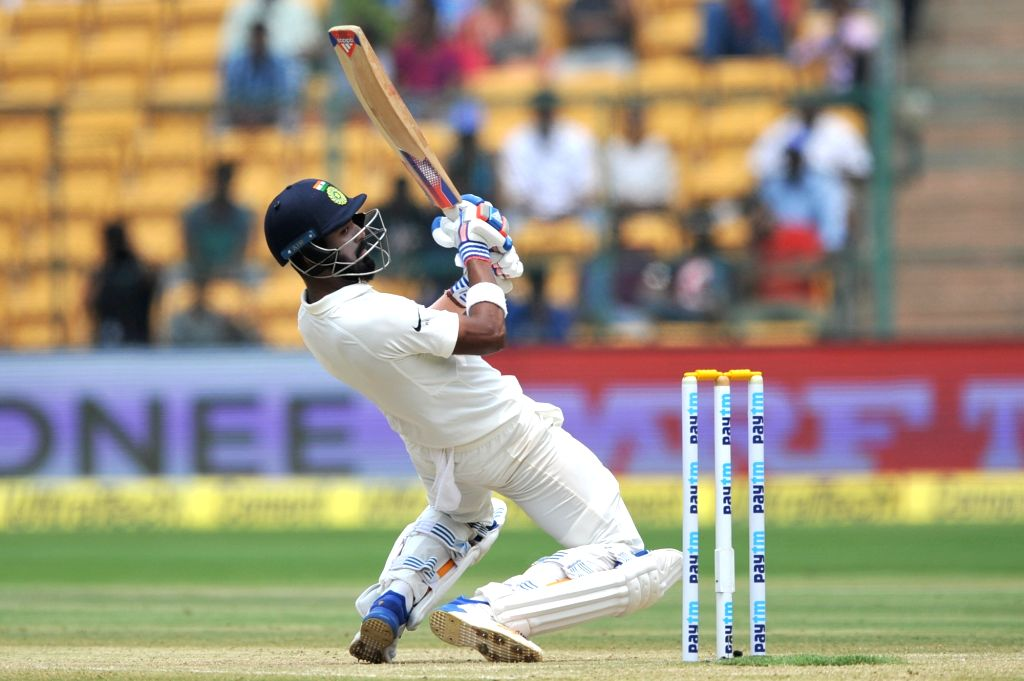 Lokesh Rahul of India in action during the third day of the second test match between India and Australia at M. Chinnaswamy Stadium in Bengaluru on March 6, 2017. - Lokesh Rahul