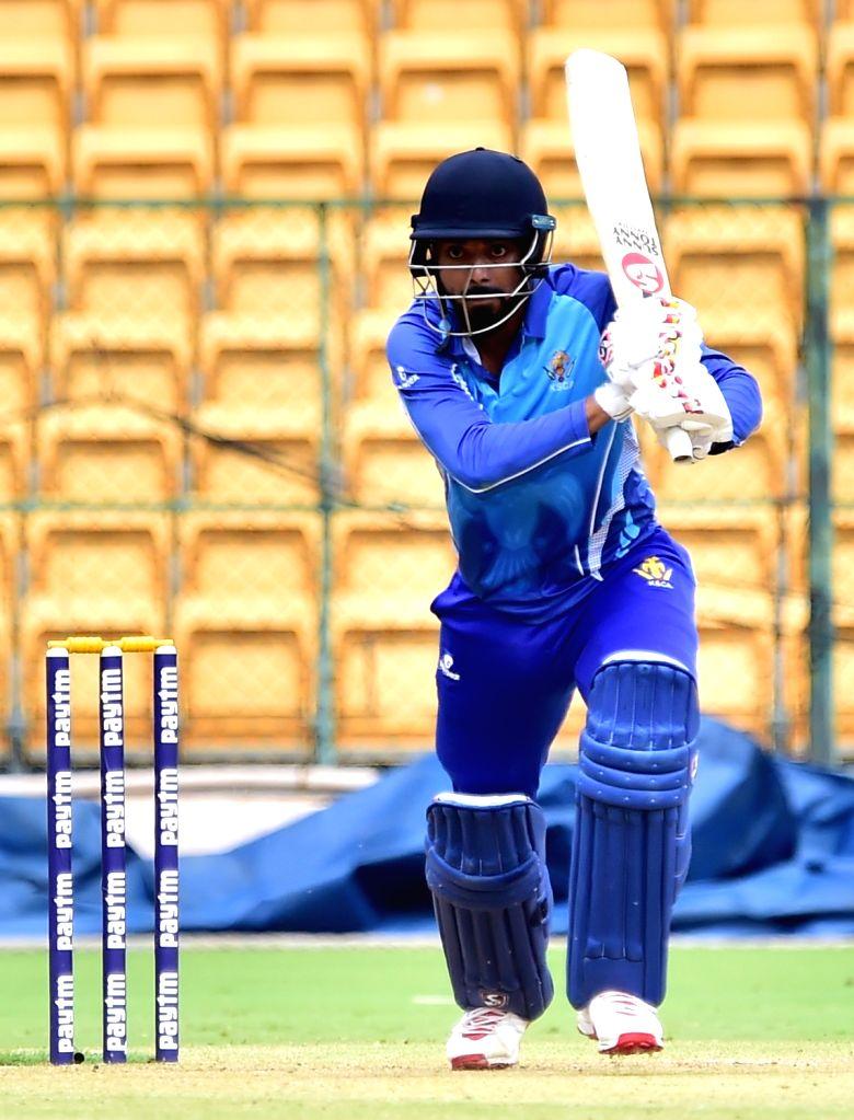 Lokesh Rahul of Karnataka in action during the final match of Vijay Hazare Trophy between Karnataka and Tamil Nadu at M. Chinnaswamy Stadium, in Bengaluru on Oct 25, 2019. - Lokesh Rahul