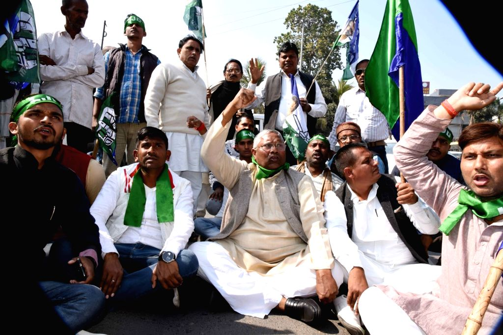 Loktantrik Janata Dal (LJD) workers stage a demonstration during a statewide strike called to protest against police lathicharge on protesting Rashriya Lok Samata Party (RLSP) leaders and ... - Upendra Kushwaha