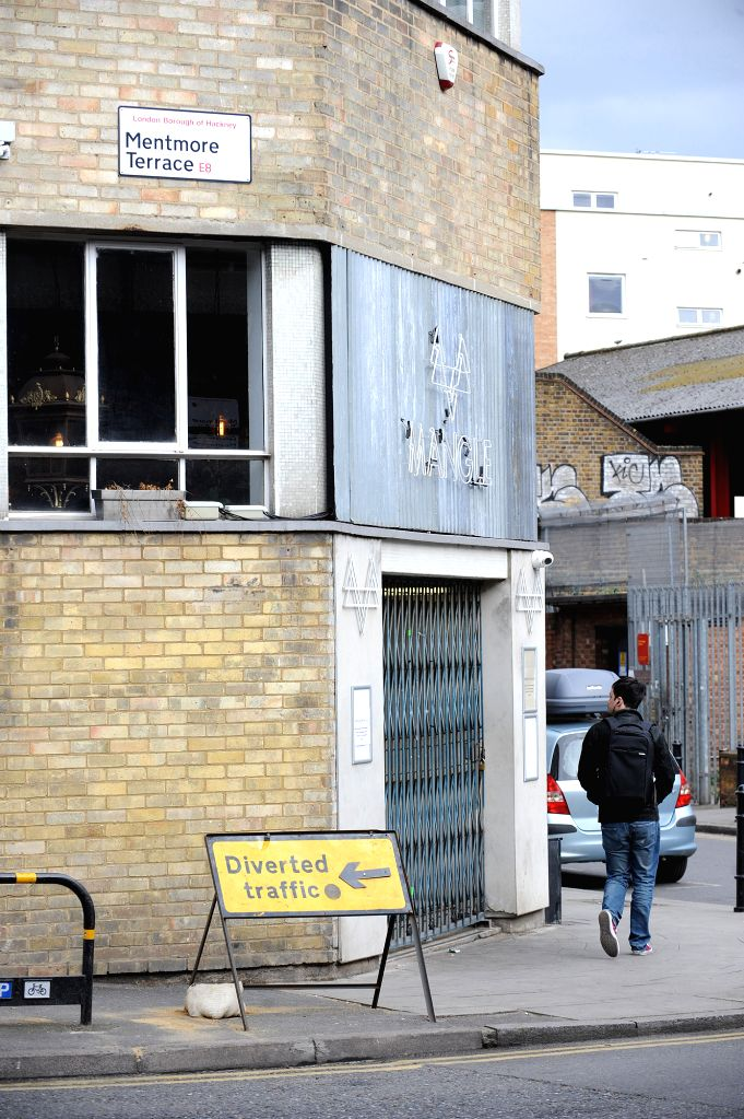 """LONDON, April 17, 2017 - Photo taken on April 17, 2017 shows the general view of Mangle E8 nightclub after a suspected """"strong acid"""" attack in east London, Britain. At least 12 people had ..."""