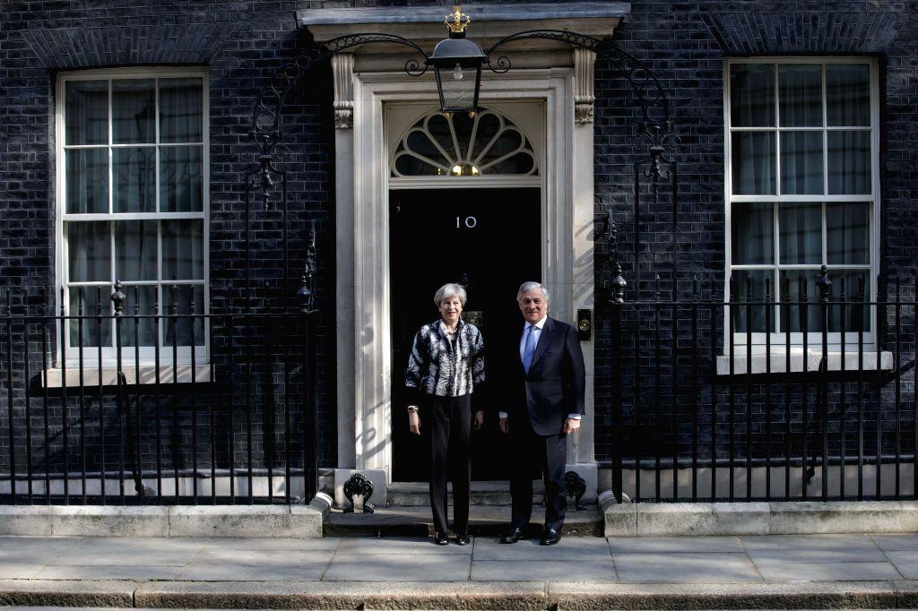 LONDON, April 20, 2017 - British Prime Minister Theresa May meets President of the European Parliament Antonia Tajani at 10 Downing Street in London, Britain on April 20, 2017. - Theresa May