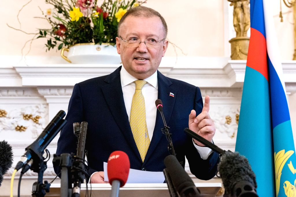 LONDON, April 5, 2018 - Russian Ambassador to the UK Alexander Yakovenko addresses a press conference at the Russian Ambassador's Residence in London, Britain, on April 5, 2018. The Russian ...