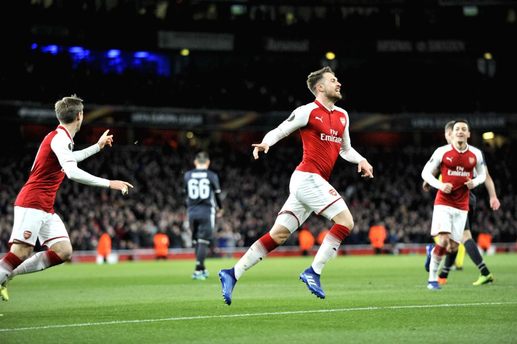 LONDON, April 6, 2018 - Arsenal's Aaron Ramsey (C) celebrates scoring during the UEFA Europa League quarter-final first leg soccer match between Arsenal and CSKA Moscow in London, Britain on April 5, ...