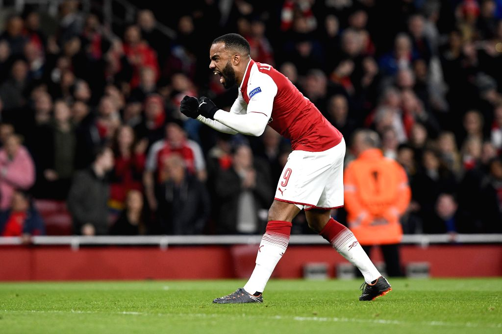 LONDON, April 6, 2018 - Arsenal's Alexandre Lacazette celebrates after scoring a penalty during the UEFA Europa League quarter-final first leg soccer match between Arsenal and CSKA Moscow in London, ...