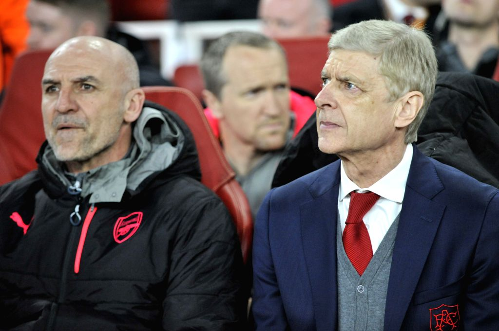 LONDON, April 6, 2018 - Arsenal's coach Arsene Wenger (R) is seen ahead of the UEFA Europa League quarter-final first leg soccer match between Arsenal and CSKA Moscow in London, Britain on April 5, ...