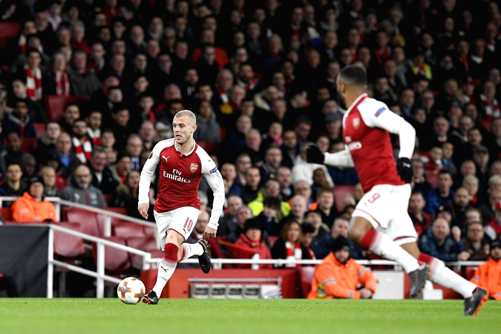 LONDON, April 6, 2018 - Arsenal's Jack Wilshere (L) breaks through during the UEFA Europa League quarter-final first leg soccer match between Arsenal and CSKA Moscow in London, Britain on April 5, ...