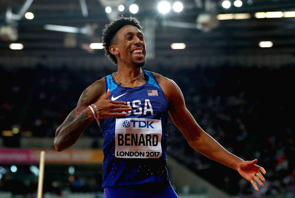 LONDON, Aug. 11, 2017 - Chris Benard of the United States reacts during Men's Triple Jump Final on Day 7 of the 2017 IAAF World Championships at London Stadium in London, Britain, on Aug. 10, 2017.