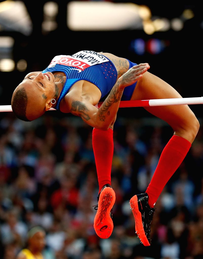 LONDON, Aug. 11, 2017 - Inika McPherson of the United States competes during Women's High Jump Qualification on Day 7 of the 2017 IAAF World Championships at London Stadium in London, Britain, on ...