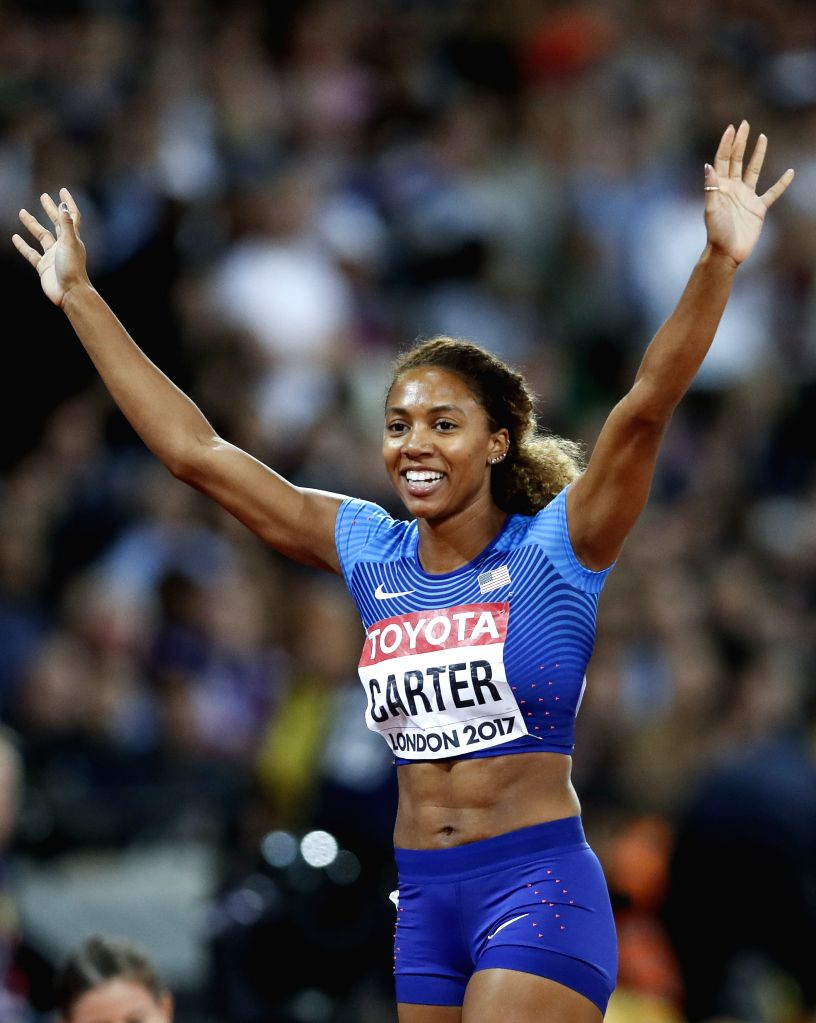LONDON, Aug. 11, 2017 - Kori Carter of the United States celebrates after Women's 400m Hurdles Final on Day 7 of the 2017 IAAF World Championships at London Stadium in London, Britain, on Aug. 10, ...