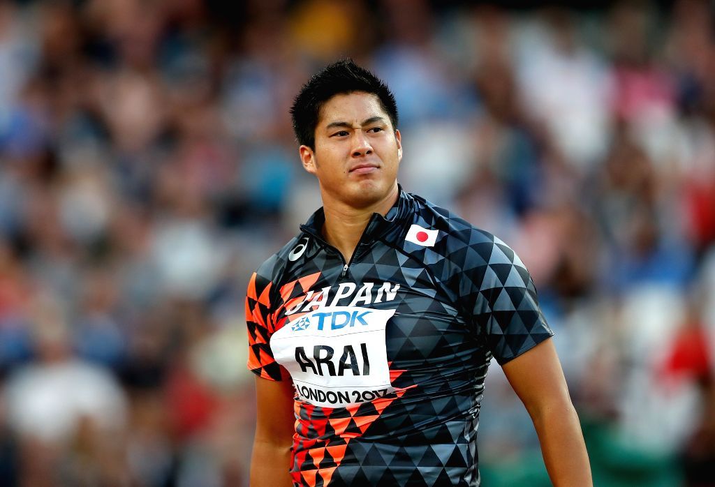 LONDON, Aug. 11, 2017 - Ryohei Arai of Japan looks on during Men's Javelin Throw Qualification on Day 7 of the 2017 IAAF World Championships at London Stadium in London, Britain, on Aug. 10, 2017.