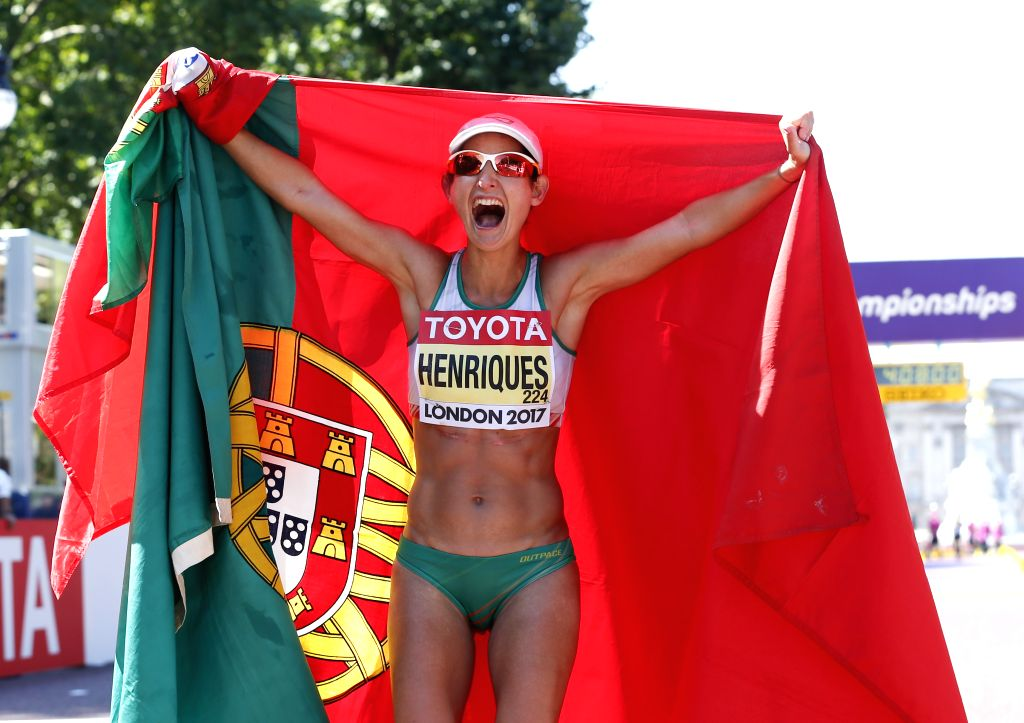 LONDON, Aug. 13, 2017 - Ines Henriques of Portugal celebrates after women's 50km race walk on Day 10 at the IAAF World Championships 2017 in London, Britain on Aug. 13, 2017. Ines Henriques won the ...