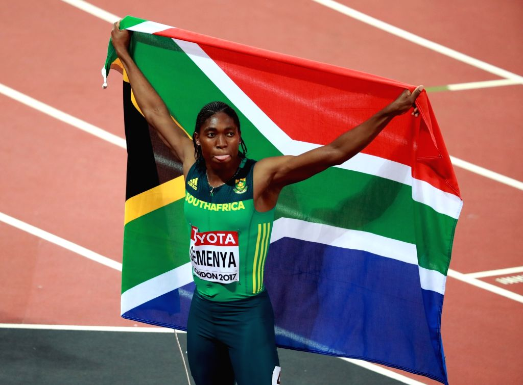 LONDON, Aug. 14, 2017 - Caster Semenya of South Africa celebrates after Women's 800m Final on Day 10 of the 2017 IAAF World Championships at London Stadium in London, Britain, on Aug. 13, 2017. ...