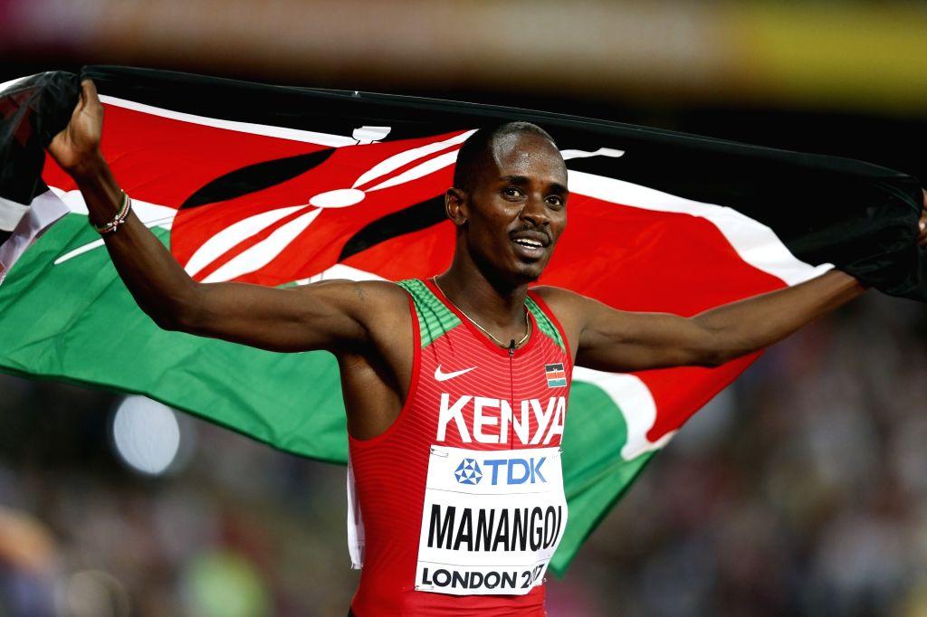 LONDON, Aug. 14, 2017 - Elijah Motonei Manangoi of Kenya celebrates after winning the men's 1500m final on Day 10 at the IAAF World Championships 2017 in London, Britain on Aug. 13, 2017. Elijah ...