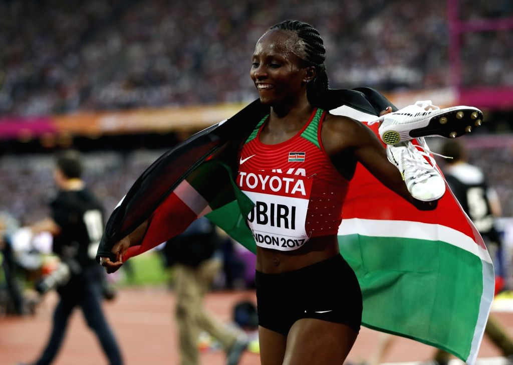 LONDON, Aug. 14, 2017 - Hellen Onsando Obiri of Kenya celebrates after winning the women's 5000m final on Day 10 at the IAAF World Championships 2017 in London, Britain on Aug. 13, 2017.