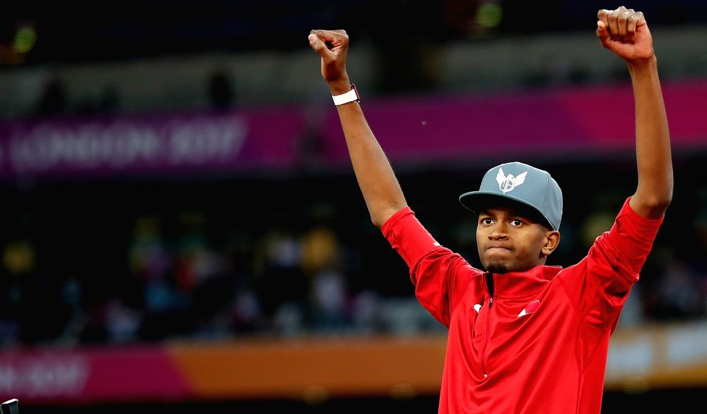 LONDON, Aug. 14, 2017 - Mutaz Essa Barshim of Qatar celebrates after Men's High Jump Final on Day 10 of the 2017 IAAF World Championships at London Stadium in London, Britain, on Aug. 13, 2017. Mutaz ...