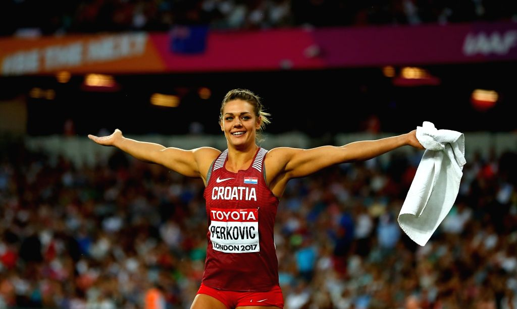 LONDON, Aug. 14, 2017 - Sandra Perkovic of Croatia celebrates after Women's Discus Throw Final on Day 10 of the 2017 IAAF World Championships at London Stadium in London, Britain, on Aug. 13, 2017. ...