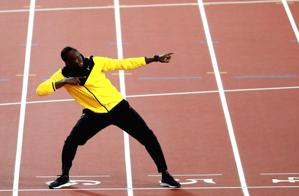 LONDON, Aug. 14, 2017 - Usain Bolt of Jamaica getures at the finish line of 100m on Day 10 of the 2017 IAAF World Championships at London Stadium in London, Britain, on Aug. 13, 2017.