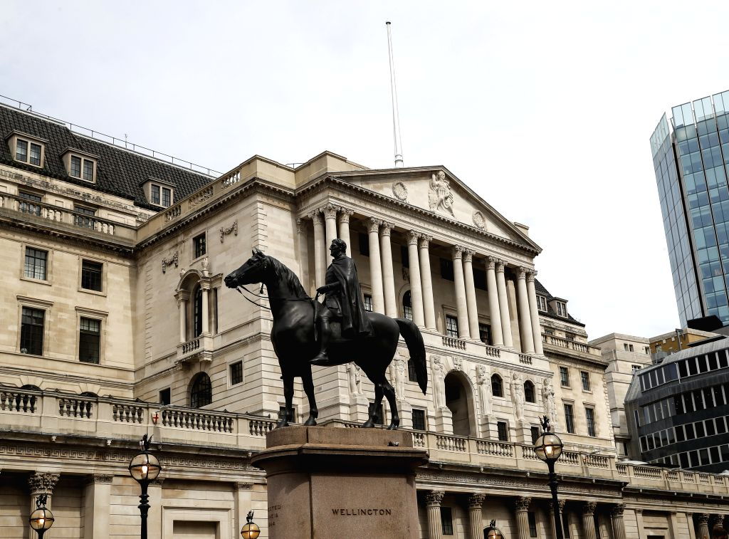 LONDON, Aug. 16, 2019 - Photo taken on Aug. 16, 2019 shows the Bank of England in London, Britain. British gross domestic product (GDP) contracted by 0.2 percent in the second quarter (Q2) of 2019 ...