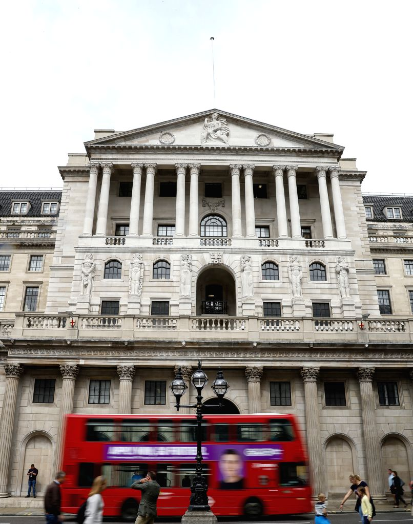 LONDON, Aug. 16, 2019 (Xinhua) -- A bus runs past Bank of England in London, Britain, Aug. 16, 2019. British gross domestic product (GDP) contracted by 0.2 percent in the second quarter (Q2) of 2019 compared with the first quarter, figures released F