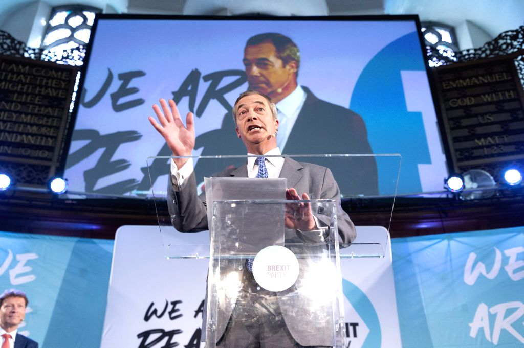 LONDON, Aug. 27, 2019 - Brexit Party leader Nigel Farage makes a speech in London, Britain, on Aug. 27, 2019. Nigel Farage said the newly formed Brexit Party plans to contest all 650 parliamentary ... - Johnson