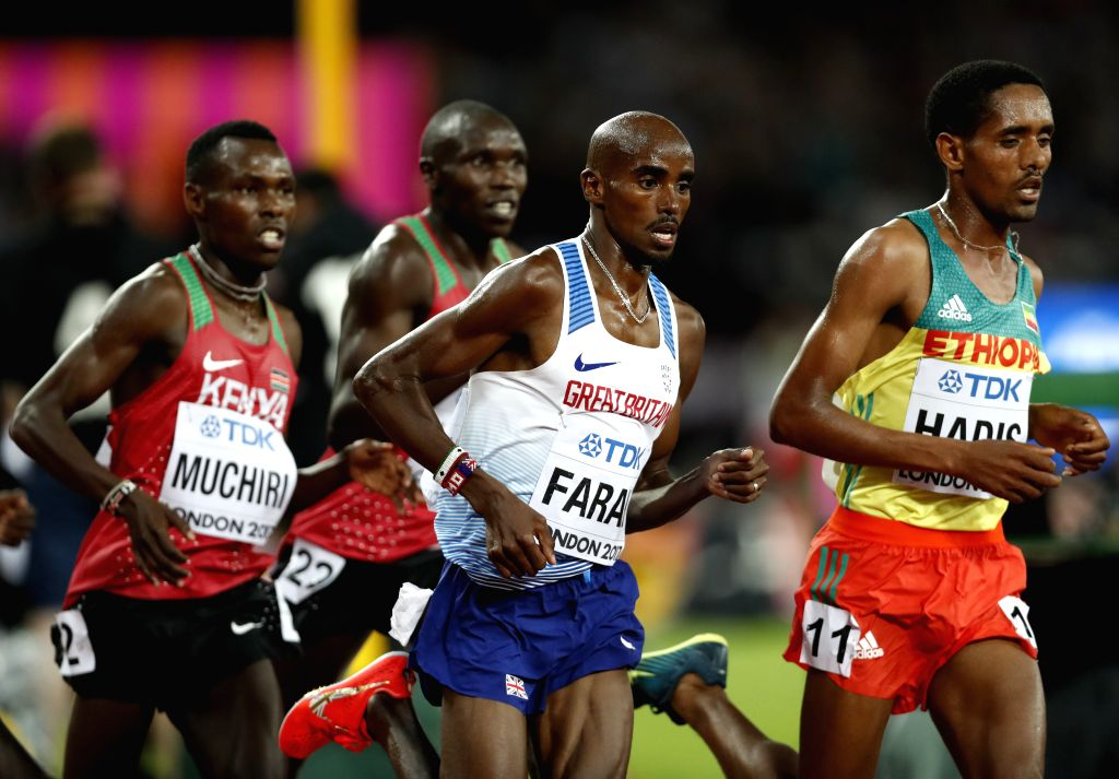 LONDON, Aug. 5, 2017 - Mohamed Farah (2nd, R) competes during Men's 10,000m final of the 2017 IAAF World Championships in London, Britain, on Aug. 4, 2017. Mohamed Farah claimed the title with 26 ...