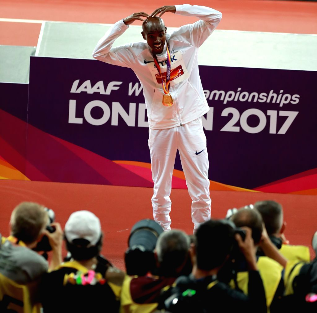 LONDON, Aug. 5, 2017 - Mohamed Farah celebrates after Men's 10,000m final of the 2017 IAAF World Championships in London, Britain, on Aug. 4, 2017. Mohamed Farah claimed the title with 26 minutes and ...