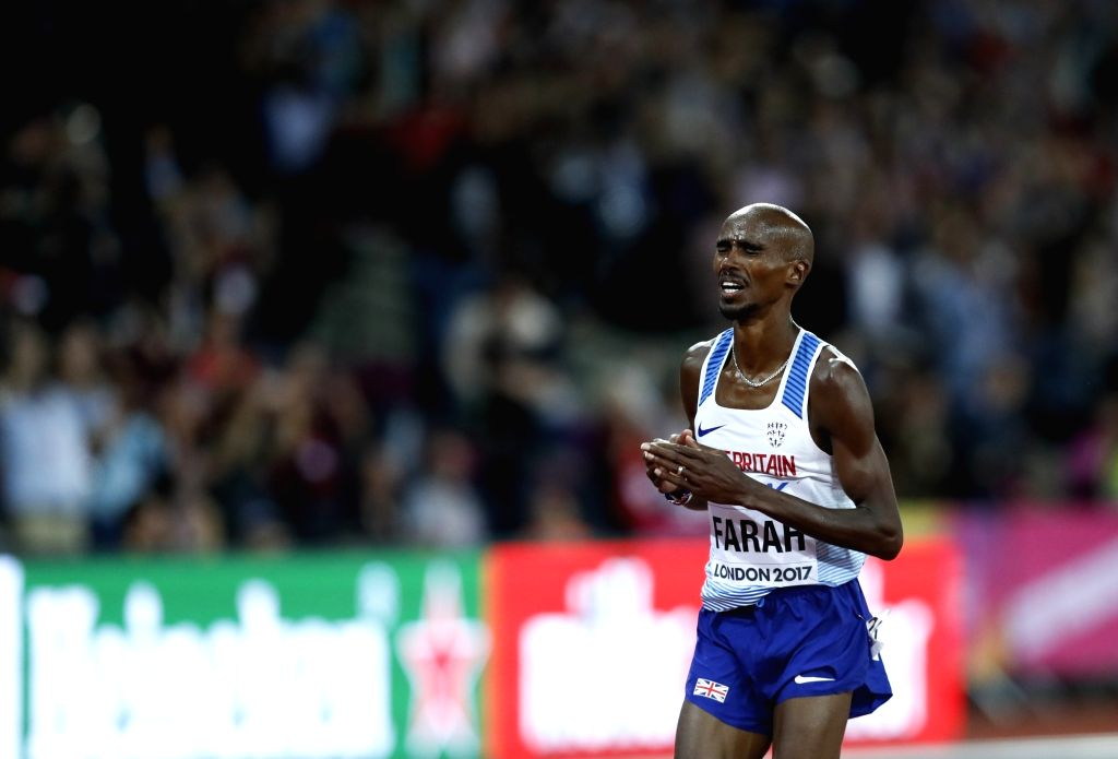 LONDON, Aug. 5, 2017 - Mohamed Farah competes during Men's 10,000m final of the 2017 IAAF World Championships in London, Britain, on Aug. 4, 2017. Mohamed Farah claimed the title with 26 minutes and ...