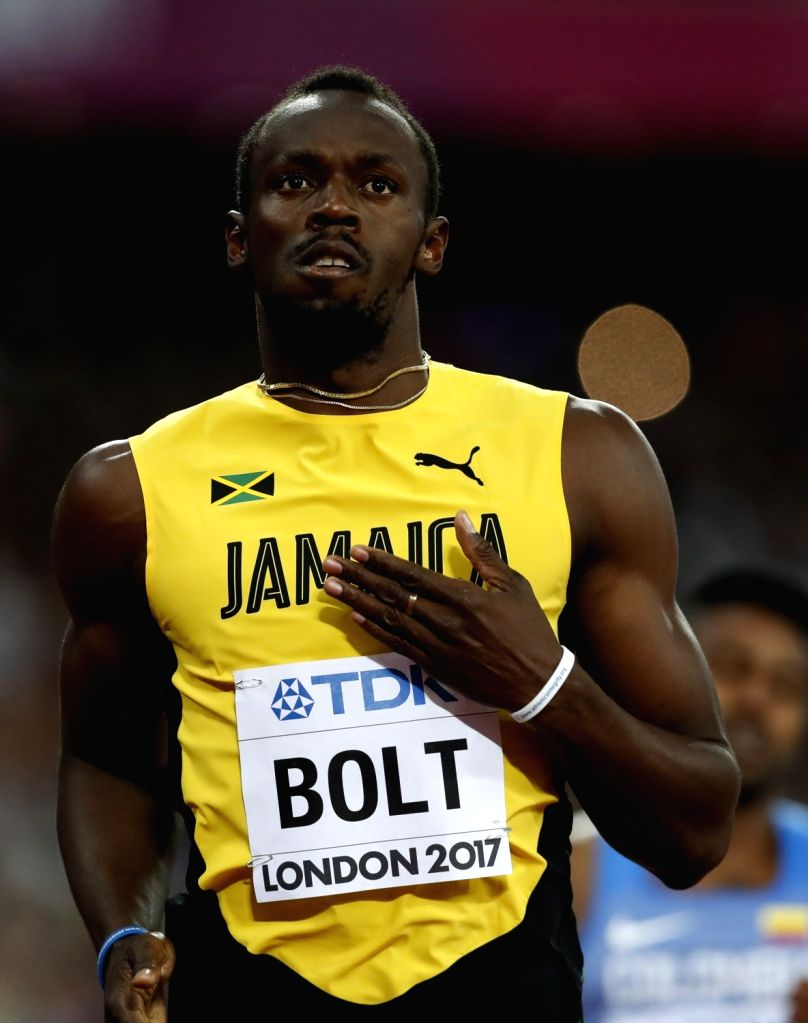 LONDON, Aug. 5, 2017 - Usain Bolt of Jamaica celebrates after during Men's 100m Heats of the 2017 IAAF World Championships at London Stadium in London, Britain, on Aug. 4, 2017.