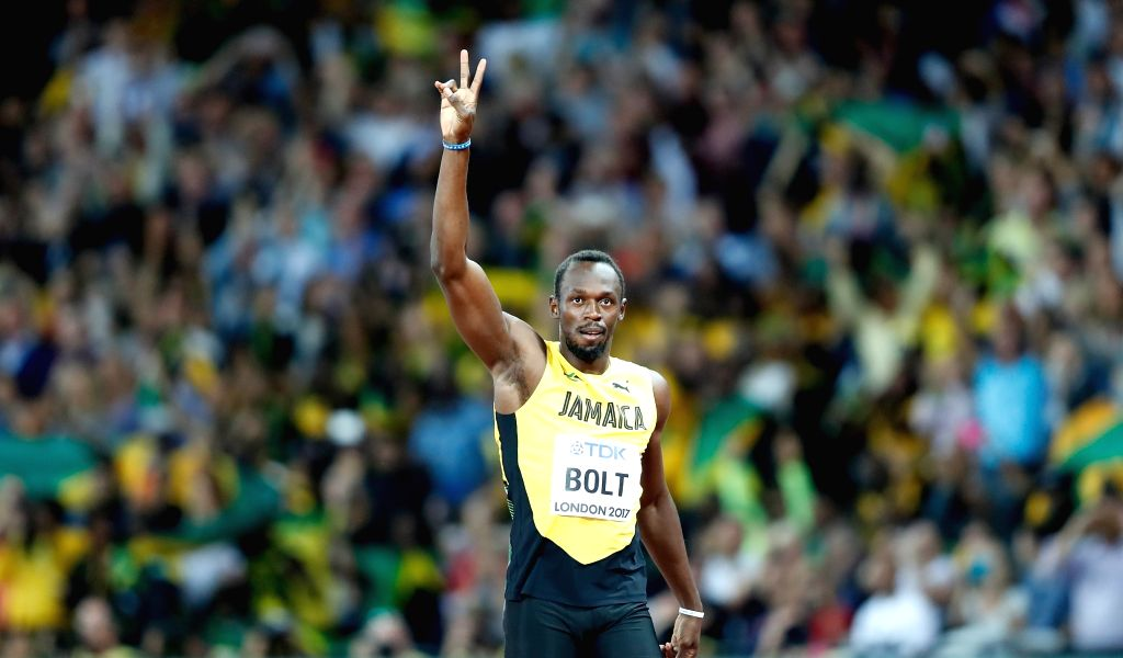 LONDON, Aug. 5, 2017 - Usain Bolt of Jamaica reacts ahead of Men's 100m Heats of the 2017 IAAF World Championships at London Stadium in London, Britain, on Aug. 4, 2017.